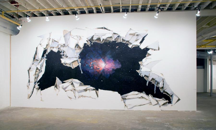 """Stardust,"" 2010 flash acrylic paint on tyvek 12 x 30 feet (144 x 360 inches)"
